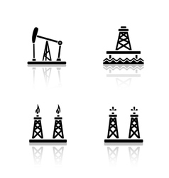 Oil platforms drop shadow icons set vector