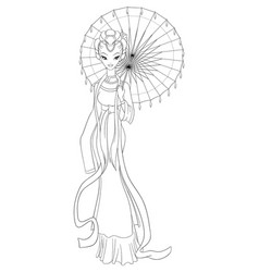 outlined chinese lady in traditional dress holding vector image vector image