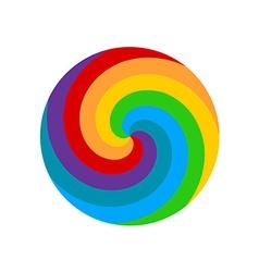 Rainbow round spiral circle background Lollipop vector image