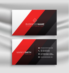 Red and black minimal business card design vector