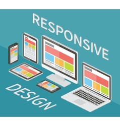 Responsive web design 3d isometric flat vector