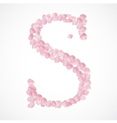 S letter Alphabet from pink petals of rose vector image