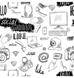 Seamless doodle social media pattern vector image vector image