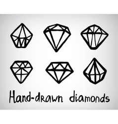 set of hand-drawn diamond icons vector image vector image