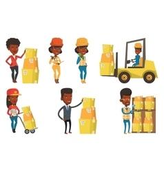 set of industrial workers vector image