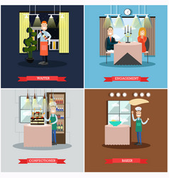 Set of restaurant people square posters in vector