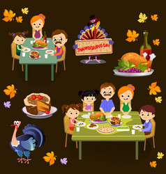 Thanksgiving set isolated happy family at the vector