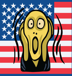 The screaming head on american flag background vector