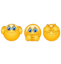 Three monkeys emoticons vector