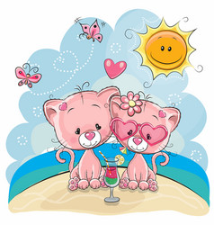 Two kittens on the beach vector