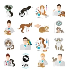 Veterinary icon flat set Vet clinic pets and vector image