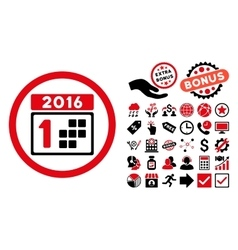 2016 day flat icon with bonus vector
