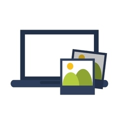 Computer and photos icon vector
