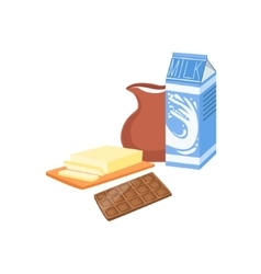 Milk chocolate and butter baking process kitchen vector