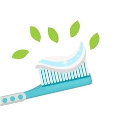 Toothbrush with mint paste isolated on white vector