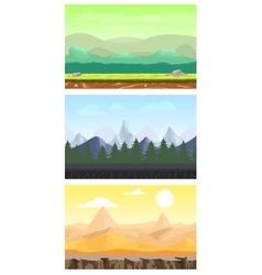 Fantasy game design landscapes set vector