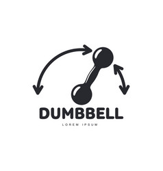 Graphic logo template with iron dumbbell and vector