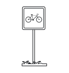 bycicle road sign parking post linear vector image