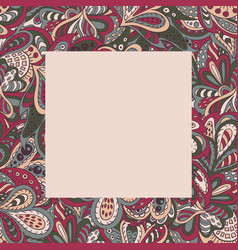 floral doodle ethnic pattern frame vinous for vector image