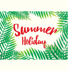 Summer holiday with beach palm background vector