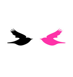 Logo with dove in pink and black colors vector