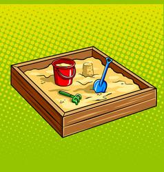 sandpit for children pop art vector image