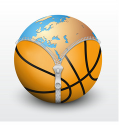 Planet earth inside basketball ball vector