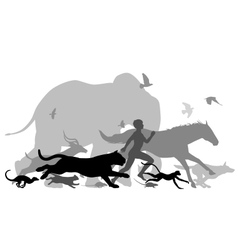 Running with animals vector