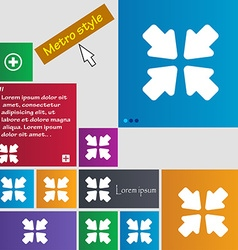 Turn to full screen icon sign metro style buttons vector