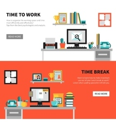 Office Banners With Workspace Design Sets vector image
