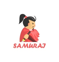 Samurai cartoon style icon vector