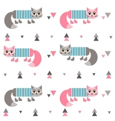 Pattern with cats in frock vector