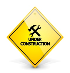 Under construction yellow sign vector image