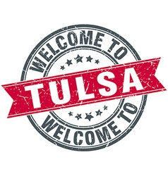 Welcome to tulsa red round vintage stamp vector