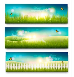 Three beautiful summer meadow landscape banners vector