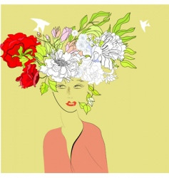 beautiful girl with floral hair vector image vector image