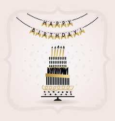 Black and golden happy birthday decoration banner vector