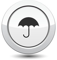 Button with Umbrella Icon vector image vector image