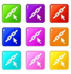 Chain link icons 9 set vector