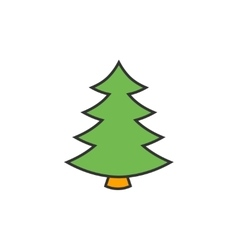 Christmas tree flat line icon vector image vector image