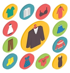 Clothing icons 3d isometric vector