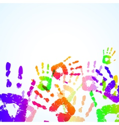 colorful hand prints background vector image vector image