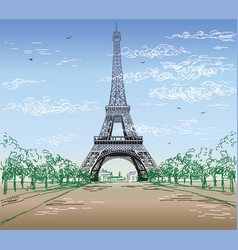 Colorful landscape with eiffel tower vector
