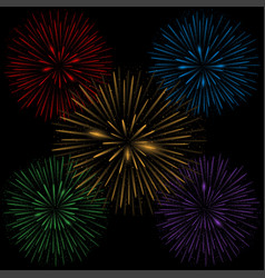 colorful realistic fireworks vector image