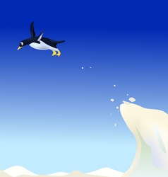 Diving penguin vector image
