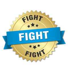 Fight round isolated gold badge vector