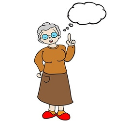 Grandmother with thought bubble vector