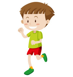 happy boy in green shirt and red shorts vector image