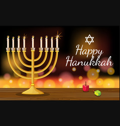 happy hanukkah card template with symbols and vector image vector image