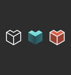 hexagon logo design creative emblem template vector image vector image